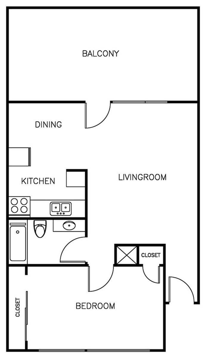 1Bedroom/1Bathroom - 750 sqft