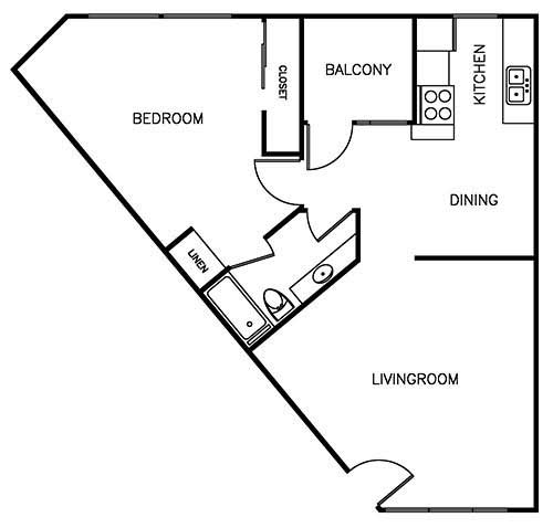 1Bedroom/1Bathroom - 825 sqft